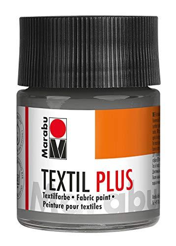 Marabu 17150005078 - Textil Plus, volldeckende Stoffmalfarbe für dunkle Stoffe, geeignet für Stoffmalerei und Stoffdruck, nach Fixierung waschbeständig bis 40 °C, 50 ml, grau