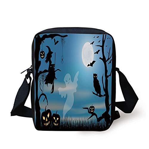 Halloween,Ghost Witch Owl Spider Web Bats Trees Fantastic Grange Forest at Night Decorative,Blue Black White Print Kids Crossbody Messenger Bag Purse