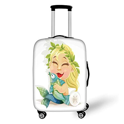 Suitcase Protector,Astrology,Baby Pisces Symbol Holding Fish Nemo Horoscope Collection Venus Little Mermaid Boho,Multi,for Travel L ()