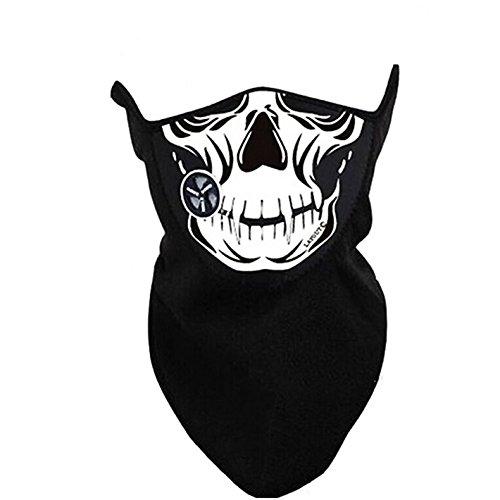 Nueva 2en 1resistente al viento ciclismo Biker Calavera Cráneo, Biker la mitad de la cara Bandana máscara motocicleta esqueleto Jawbone Wild Hogs estilo cuello bufanda anti polvo sol protección Cosplay Paintball Airsoft