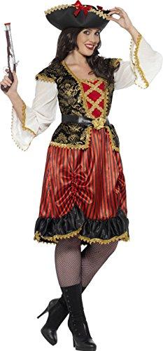 men Piraten Lady Kostüm, Größe: 52-54, rot (Adult Halloween Kostüme Piraten Lady)
