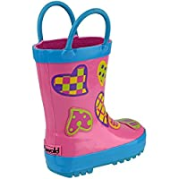 Cotswold Puddle Boot Girls Wellies hearts Pink Multi - hearts - UK Size 13