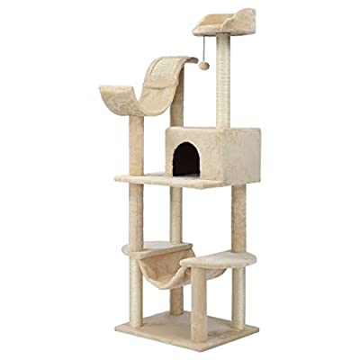 Finether Cat Tree Tower Scratcher Furniture Kitten Playhouse with Sisal Covered Scratching Posts Hammock Perches Platform and Dangling Ball