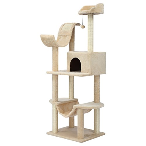 Finether Cat Tree Tower 60.5' Alto 5-Piani Mobili Kitten Playhouse con Sisal Tiragraffi, Amaca, posatoi. Platform e Dangling Ball, Beige