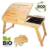 CURVAN Laptoptisch Bambus Betttish Beistelltisch | Frühstück Bett Sofa | Flat