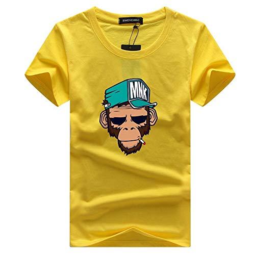 WYTX T-Shirt Sommer Männer gedruckt AFFE Muster Kurzarm gelb Mode Rundhals T-Shirt, L