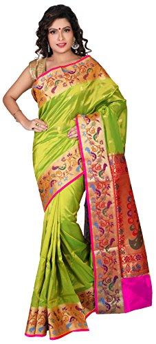 Aruna Fashions Self Design Semi Silk Saree(Parrot color saree with Rani color...