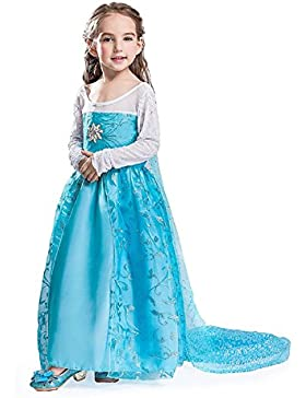 MNTLLBLFR - 3 Modelli a Scelta dei Costumi di Carnevale Frozen Elsa - Tutte le Taglie, Blue, 130 = 8-9 ANNI