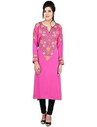 Antarnaad Women's Crepe Semi-Stitched Kurta (Pink)
