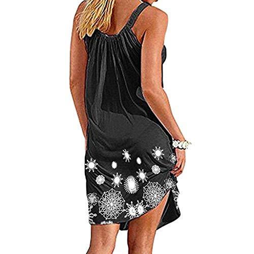 Damen Sexy Sommer Lässige Dame Print Oansatz Weste Ärmelloses Strand-Minikleid Kleider V-Ausschnitt Rückenfrei Neckholder Abendkleider Elegant Cocktailkleid Lang Chiffon Party Kleid