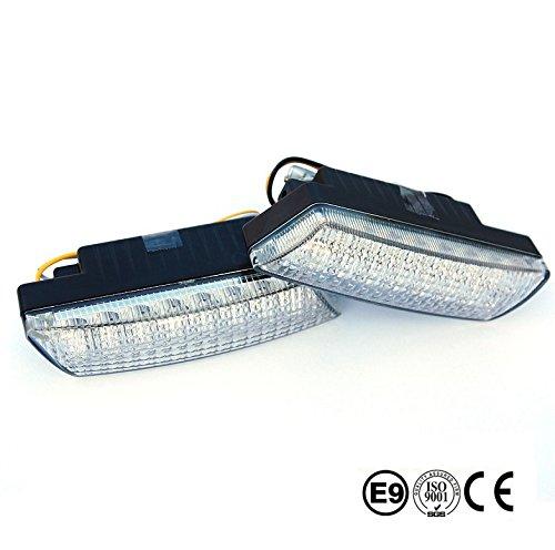 BLUETECH PLUS Ultra kleine universale LED Tagfahrleuchten/Tagfahrlichter mit 16 SMD LEDs R87 Modul E-Prüfzeichen & Dimmfunktion (Minuspol Draht Der Batterie)