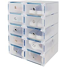 10x Cajas de Zapatos Plegables de Plástico, Transparente Organizador Almacenaje de Zapatos,Tipo Cajón