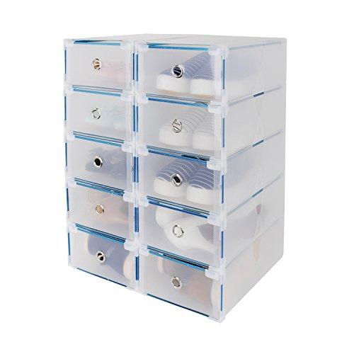 10x Cajas de Zapatos Plegables de Plástico, Transparente Organizador Almacenaje de Zapatos,Tipo Cajón, 30 x 18 x 10cm, Uuhome