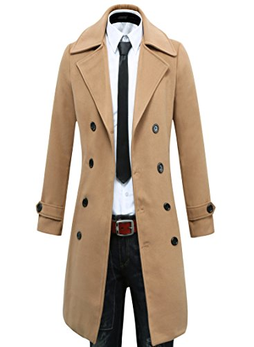 Herren Trench Coat Winter Lange Sakko Double Breasted Mantel (EU Size L/Label XXL, Kamel) -