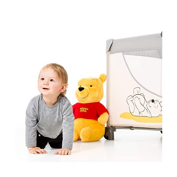 Hauck Dream N Play Go, 5-Part Travel Cot from Birth to 15 kg, 120 x 60 cm, Folding Travel Bed with Folding Mattress, Carry Bag, Play Arch and Toy Bag, Tilt-Resistant, Pooh Cuddles Disney Suitable from birth Includes fold up mattress (60 x 120cm) Folds away into its own carry bag 14