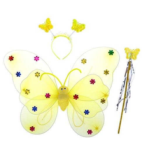 Luoem ali da farfalla led luminose e bacchetta magica cerchietto costume farfalla bambina giallo 3 pezzi
