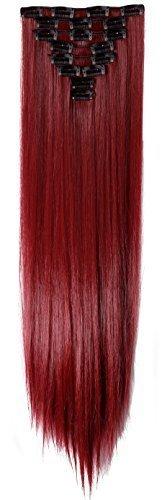 S-noilite 66 cm liscia set da 8 pezzi extension per capelli a capelli pezzi clip nella prolunga (maroon mescolare rosso scuro)