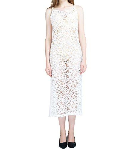 I VVEEL Damen Lange Mesh Maxi Kleid Sommer Casual Fashion Crochet Beach Cover Up (Beach Up Cover Crochet)