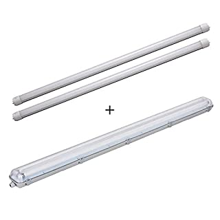 LEDUS 120cm Twin Waterproof Case with 2x 18W LED Tubes Natural White (Double IP65 Casing + Two 4000k-4500k T8 LED Tubes) [Warranty 3y]