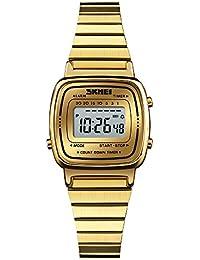 FeiWen Mujer Fashion Lujo Digitales Relojes de Pulsera Multifuncional Deportivo LED Electrónica Acero Inoxidable Elegante Casual
