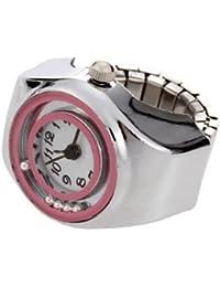 Reloj Anillo Metal Redondo con Circonita Multicolor Ajustable Blanco