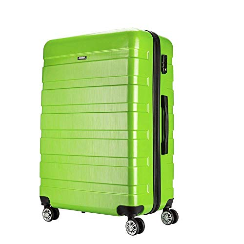 Amasava valigie rigide ABS+PC hard shell super leggero da viaggio Carry On trolley 8 ruote valigia,75cm,101L, Verde