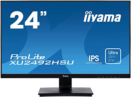 iiyama ProLite XU2492HSU-B1 A 60,5cm (23,8 Zoll) IPS LED-Monitor Full-HD (VGA, HDMI, DisplayPort, USB2.0, Ultra Slim Line) schwarz Slim-full-hd-lcd