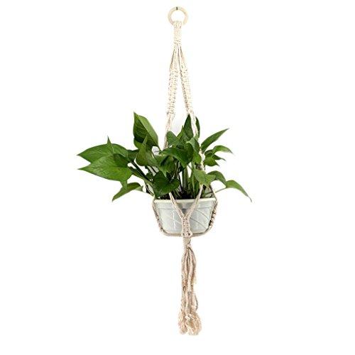 Babysbreath17 Bohe Makramee Pflanzen-Aufhänger-Haken-Blumen-Topf-Halter hängende Seil-Wand-Kunst-Hausgarten Balkon Dekoration (Seil-topf-halter)