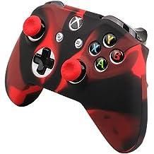 Pandaren® peau de Housses Coque silicone anti-dérapant Seulement pour Xbox One S, Xbox One X Manette x 1 (rouge noir) + thumb grip poignées x 2