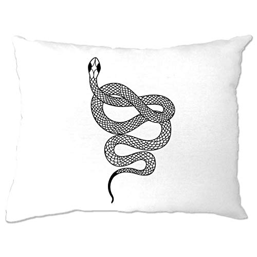 Tierkunst Kissenbezug Illustrated Snake Tattoo Grafik White One Size