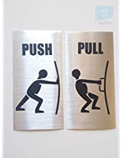 SIGN EVER Push Pull Sign Sticker Metallic Color Sign Sticker for Glass Doors Office Hospital Mall Business (12x7cm)