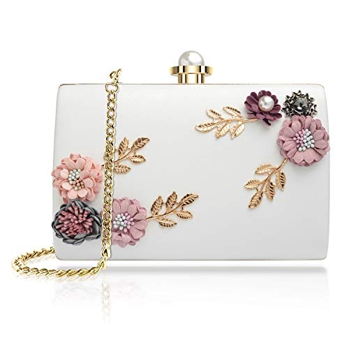 WATACHE Frauen Blume Kupplungen Abendtaschen Handtaschen Perle Perlen Hochzeit Clutch Geldbörse für Prom Weihnachtsfeier Hochzeit Braut (Blume#1) - Hochzeit Clutch