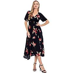 Wantdo Vestido Largo con Escote V para Mujer Estilo Bohemio Casual Talla Grande Azul Marino+Flor X-Large
