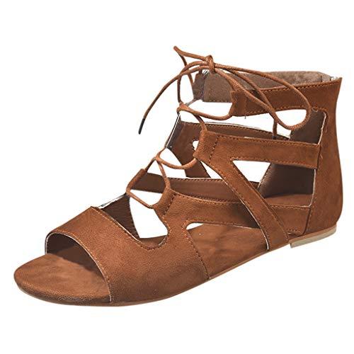 SANFASHION Damen Sommer Flachen Atmungsaktiv Sandalen Cross-Tied Bandage Roman Schuhe Mädchen Reißverschluss Offene Zehenschuhe - Dunkelbraune Leder Kinder Schuhe