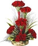FloraIndia Fresh Flower (Basket of 25 Red Roses)
