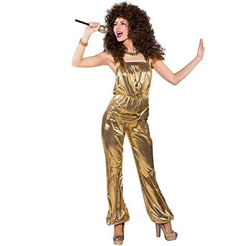 Retro Jumpsuit Kostüm - Unbekannt Damen Kostüm Party Jumpsuit Gold Retro 80er 90er Mottoparty Fasching Karneval (38/40)