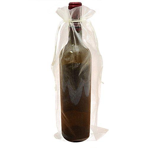 Sxuuxb sacchetti di bottiglia di vino organza, 20pcs sacchetti di carta da regalo bottiglia di organza per la festa di nozze di natale (beige) - 37x14 cm / 14.5 * 5.5 pollici
