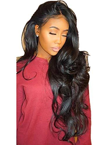 ❤️LILICAT Urly Perruque Glueless Full Lace Perruques Noir Femmes Indien Remy Cheveux Humains Lace Front Femmes Cosplay Classics Dentelle Chimique Fiber (Noir)