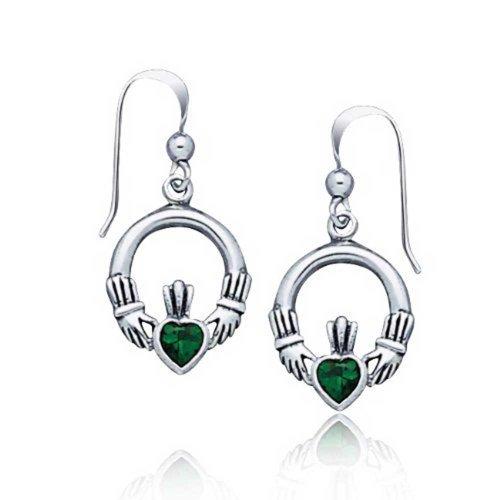 Claddagh Keltisch Freundschaft Kreis Kelly Grüne Herz Ohrhänger Angelhaken Simulierten Emerald Glas Silber -