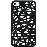 Coque caoutchoutée noire pour iPhone 4/4S façon bois tressé