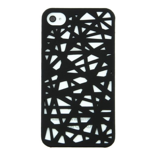 BLACK NEW IPHONE 4S / IPHONE 4 WOOD CUT STYLE RUBBER HARD BACK COVER / CASE / SHELL / SKIN
