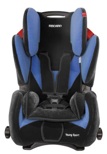 RECARO 6202.21005.66 - Young Sport - Autokindersitz Gruppe I, II und III (9-36 kg), von 9 Monaten bis ca. 12 Jahre, Farbe Mircofibre Black/Saphir