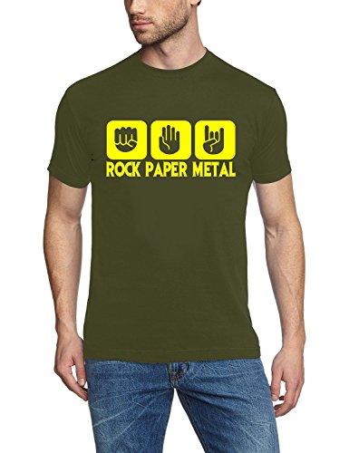 Coole-Fun-T-Shirts Herren T-Shirt Rock Paper Heavy Metal, Oliv-Gelb, XXL, 10878 Preisvergleich