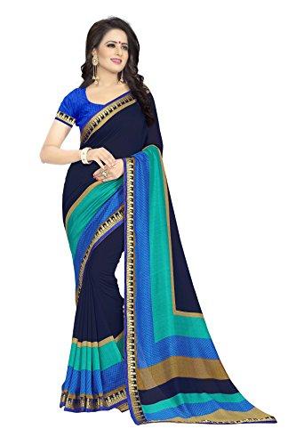 Oomph! Women's Printed Linen Silk Blend Sarees Party Wear - Denim Blue