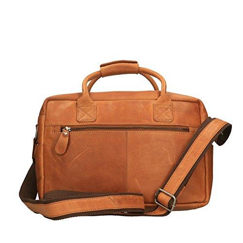 Chicca Borse Luxury Travel Bag Borsa da Viaggio Unisex a Spalla con Manico in Vera Pelle - 37x27x16 Cm Cuoio
