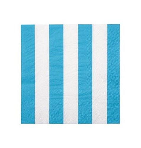 Chal - Serviette en Papier Turquoise à Rayures Blanches