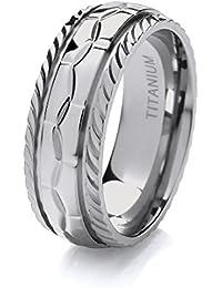 Theia Titanium 'Pentagon Tile' - Court Shape Design 8mm Ring
