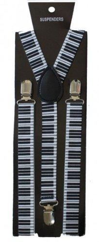 SoulCats Hosenträger unifarben muster Damen Herren neon weiß schwarz Y-Form, Modell:gemustert breit;Farbe:Klavier