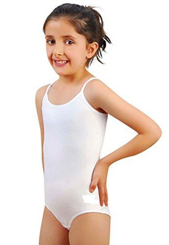 Mädchens Baumwoll dünnen Riemen Trikots dehnbar Tanz / Gymnastik / Ballett Sport Farbe & Größen(Girl's ThinStrap Leotards) (7-8 Jahre(Years), Weiß(White))