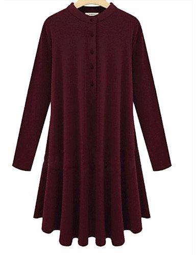 LYQ/ Robe Aux femmes Grandes Tailles Grandes Tailles / Vintage , Couleur Pleine Col Ras du Cou Mi-long Acrylique wine-5xl